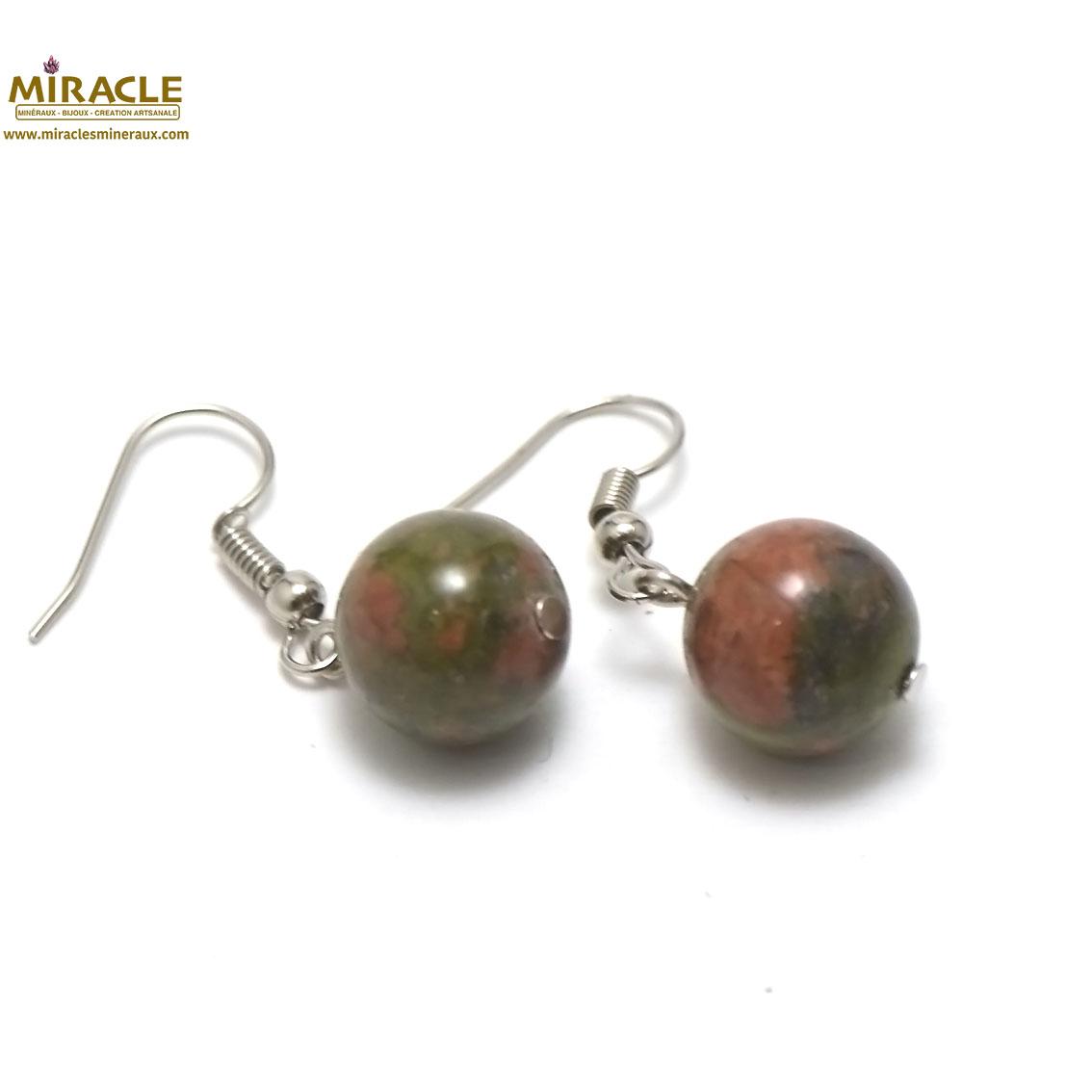 boucle d\'oreille unakite, perle ronde 12 mm