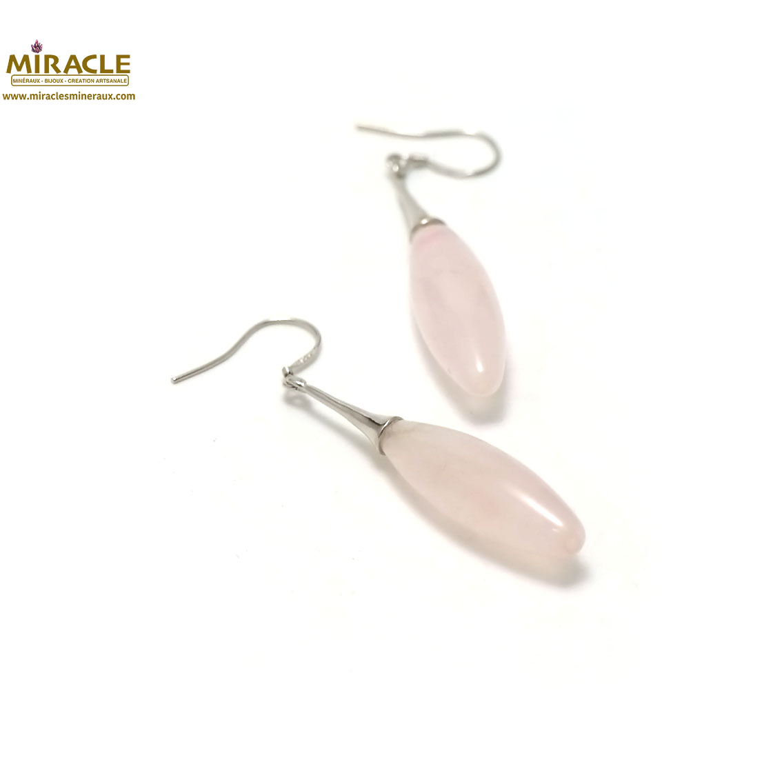 boucle d\'oreille quartz rose, long olive-support lustre