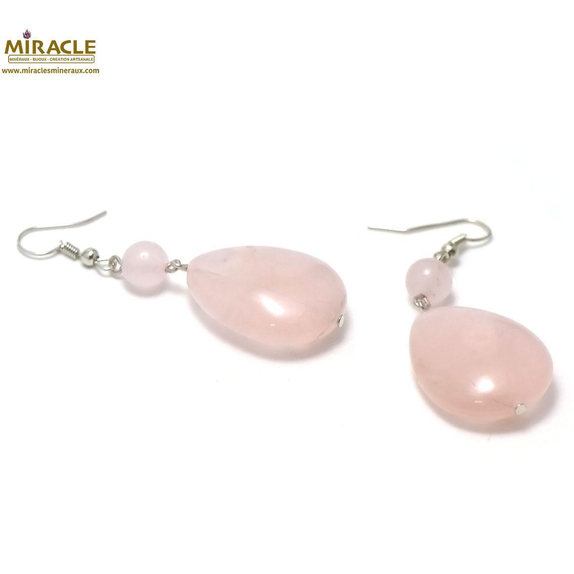 boucle d\'oreille quartz rose, palet goutte d\'eau-ronde 8 mm