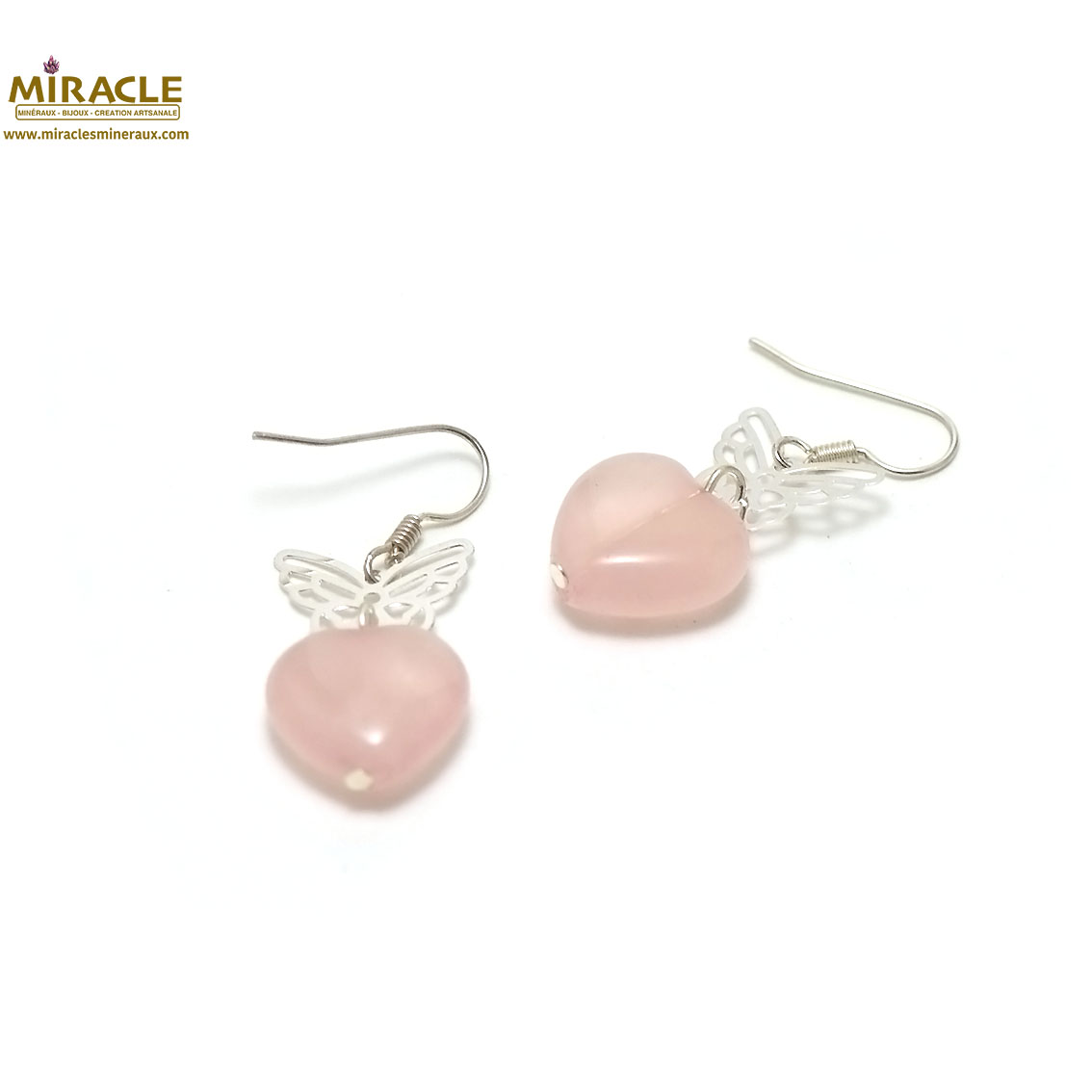 boucle d\'oreille quartz rose, coeur-papillon