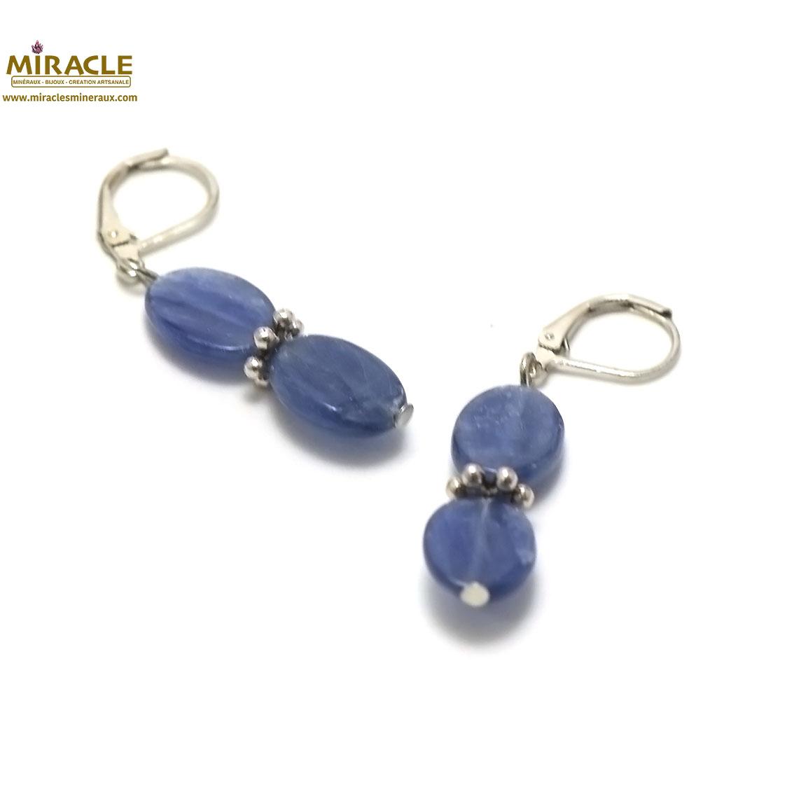 boucle d\'oreille cyanite, double palet oval-perle argentée