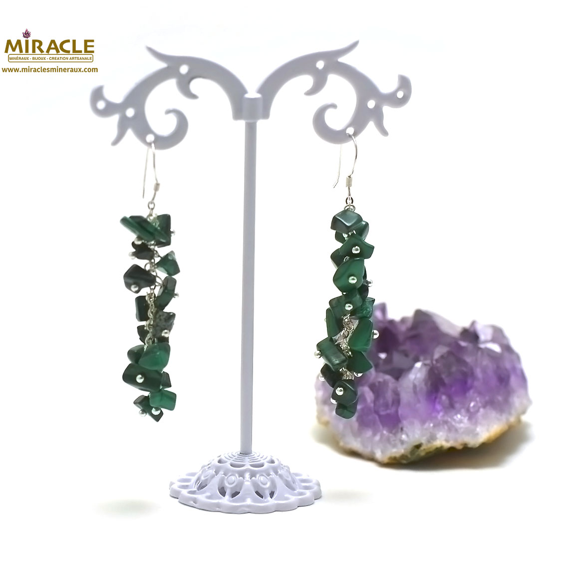 boucle d\'oreille malachite, grappe de raisin long