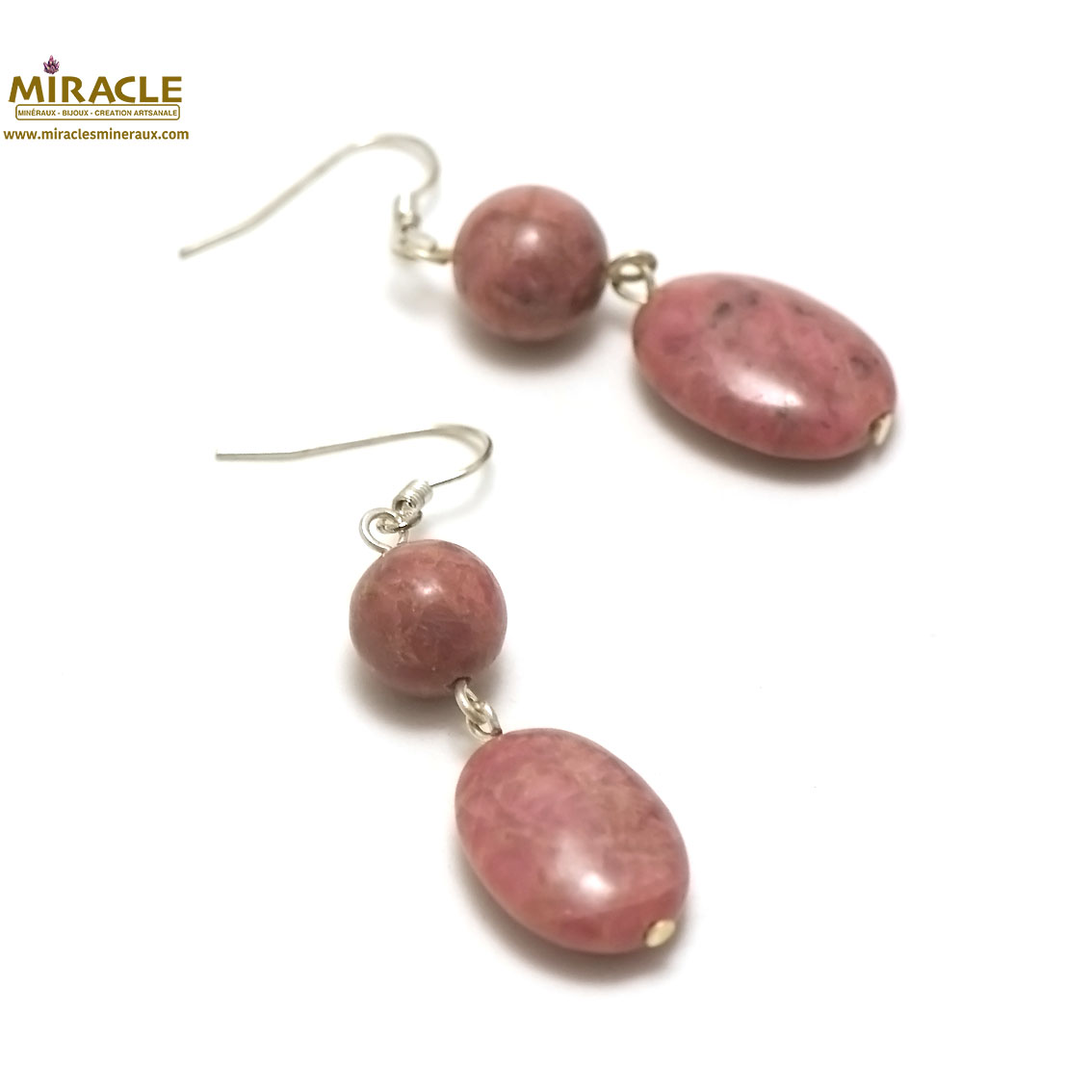 boucle d\'oreille rhodonite, palet oval-ronde 10 mm