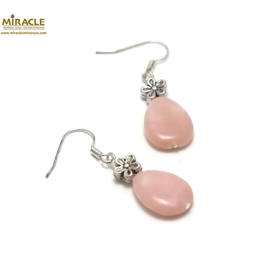 Boucle d\'oreille opale rose goutte d\'eau plat