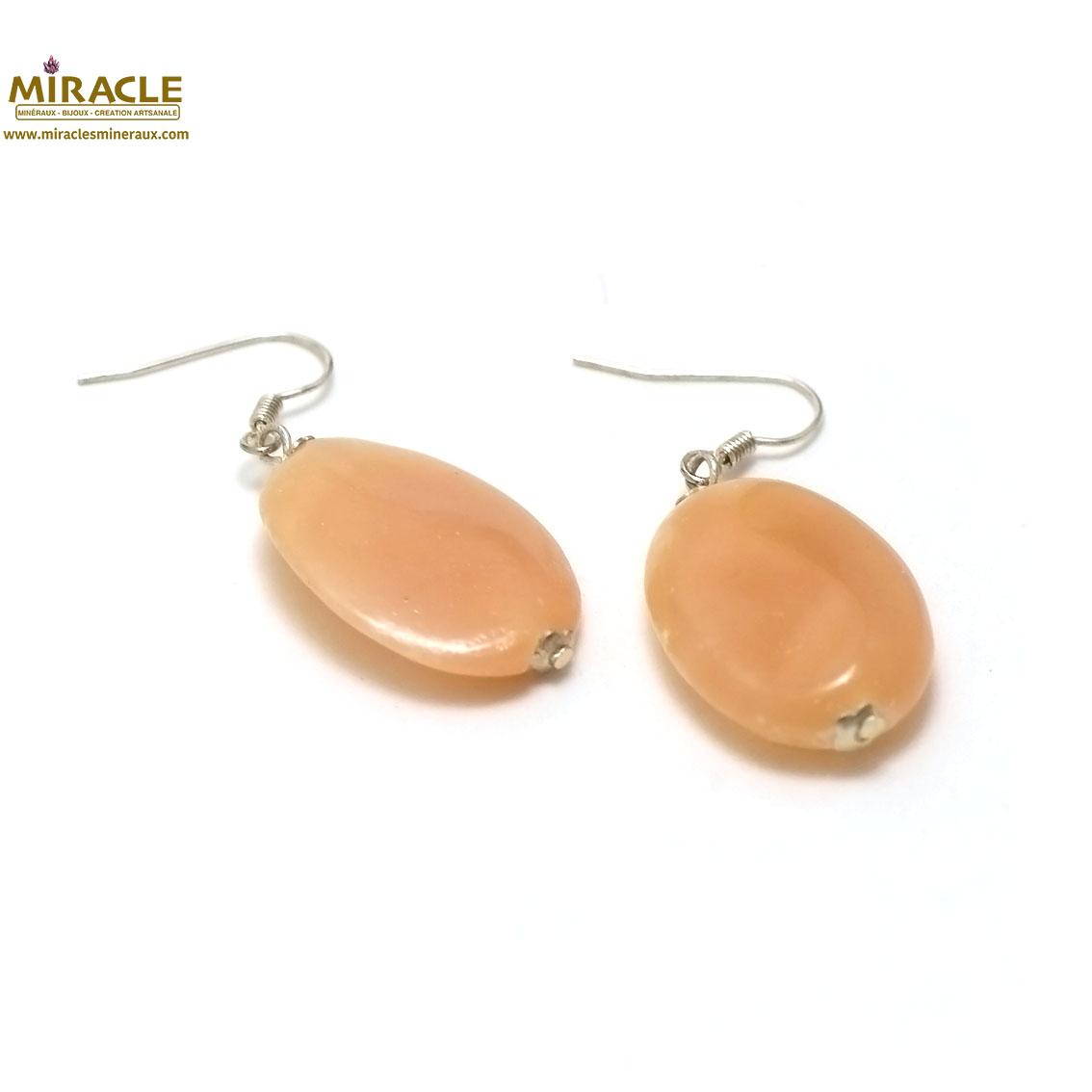 Boucle d\'oreille  opale rose des Andes  palet ovale