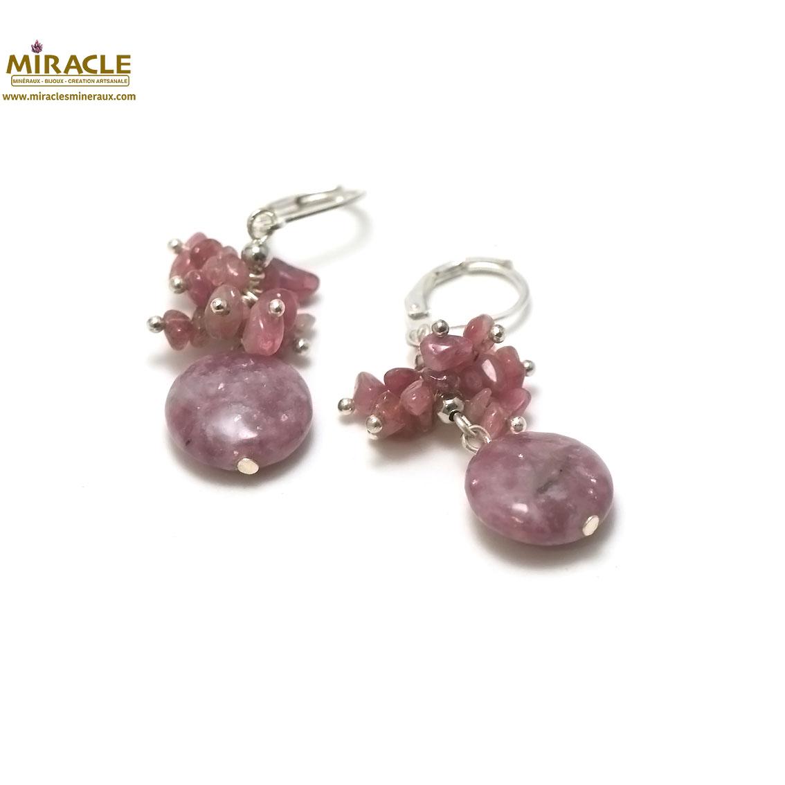 boucle d\'oreille lépidolite, grappe de raisin-palet rond 14x6 mm