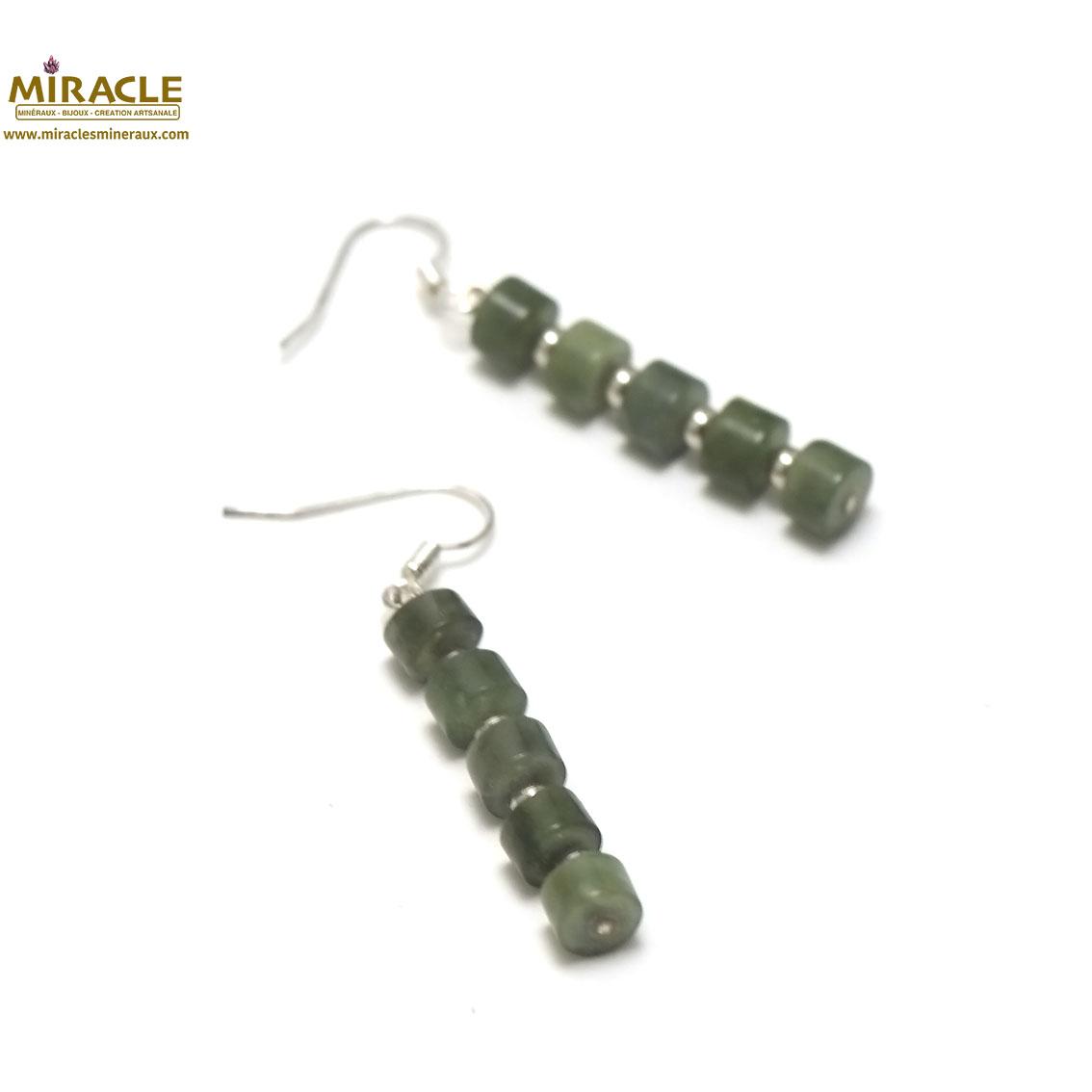 boucle d\'oreille jade néphrite de Canada, perlerondelle-perle argentée