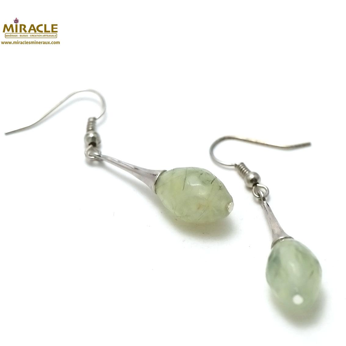 boucle d\'oreille préhnite , perle olive facettée - lustre