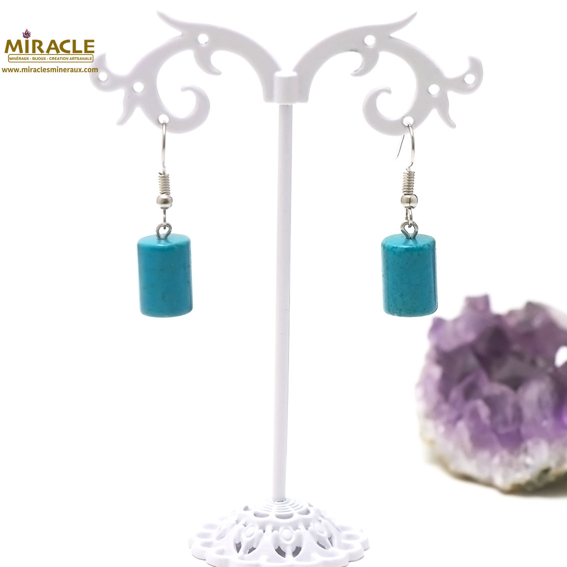 boucle d\'oreille turquoise, perle tube