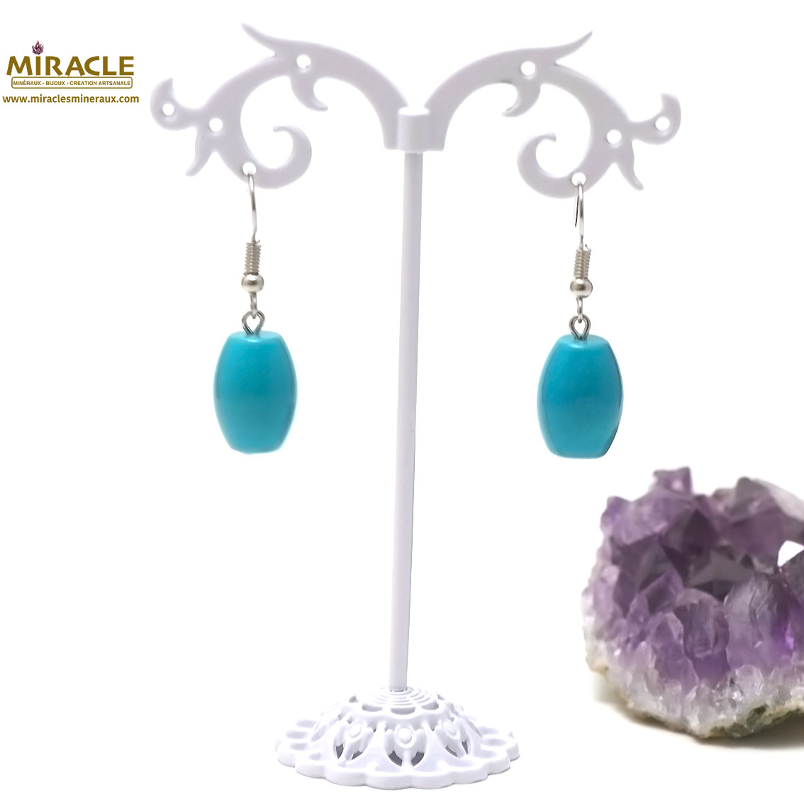 boucle d\'oreille turquoise , perle olive