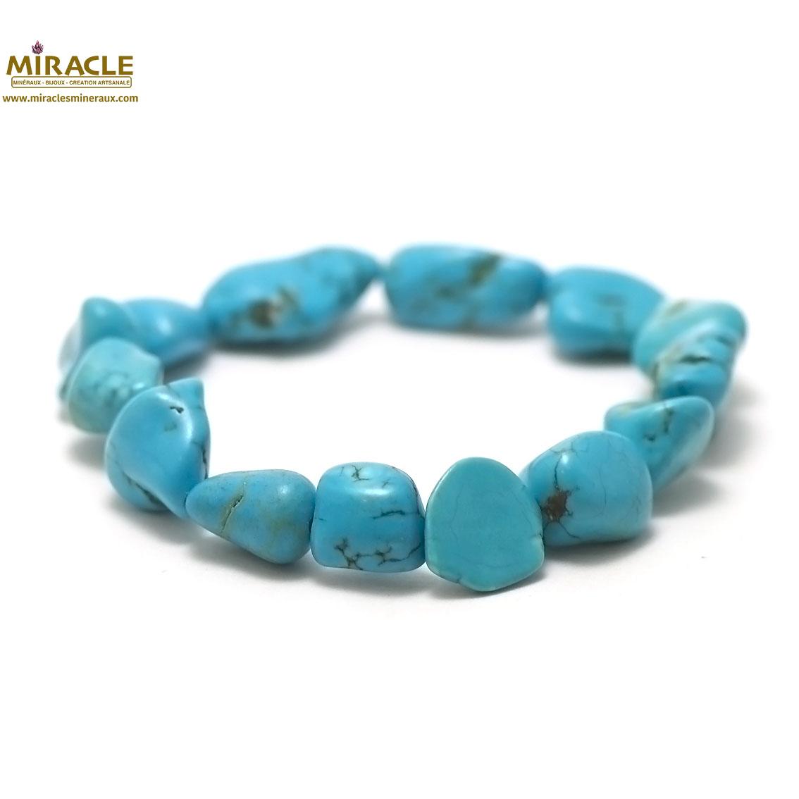 Bracelet en pierre naturelle turquoise diam : 5,5 cm neuf perles baroques