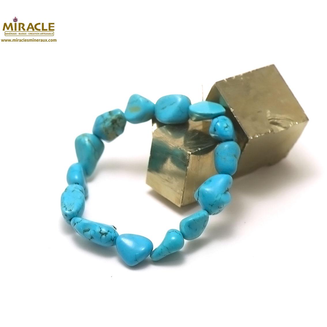 bracelet turquoise, perle galet baroque brut