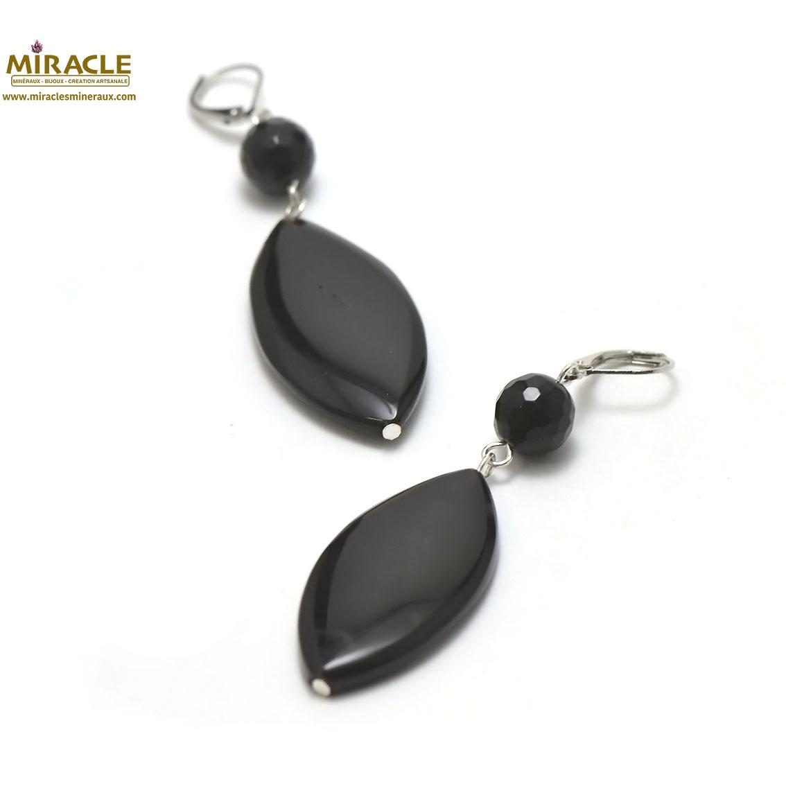 boucle d\'oreille onyx, perle palet oval-ronde 10 mm facettée