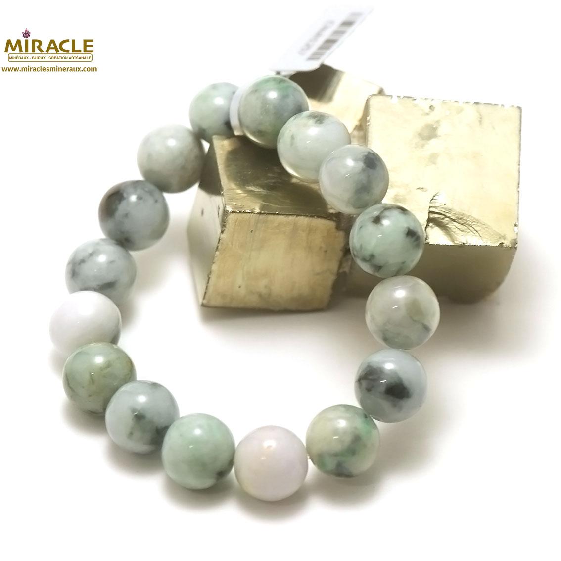 bracelet jade, perle ronde 13,5 mm, vert marbré