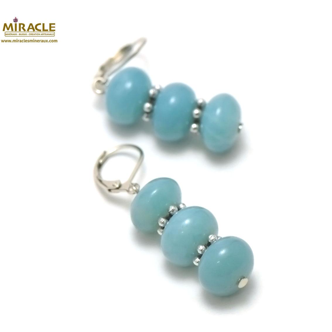 boucle d\'oreille amazonite, triple rondelle-perle argentée
