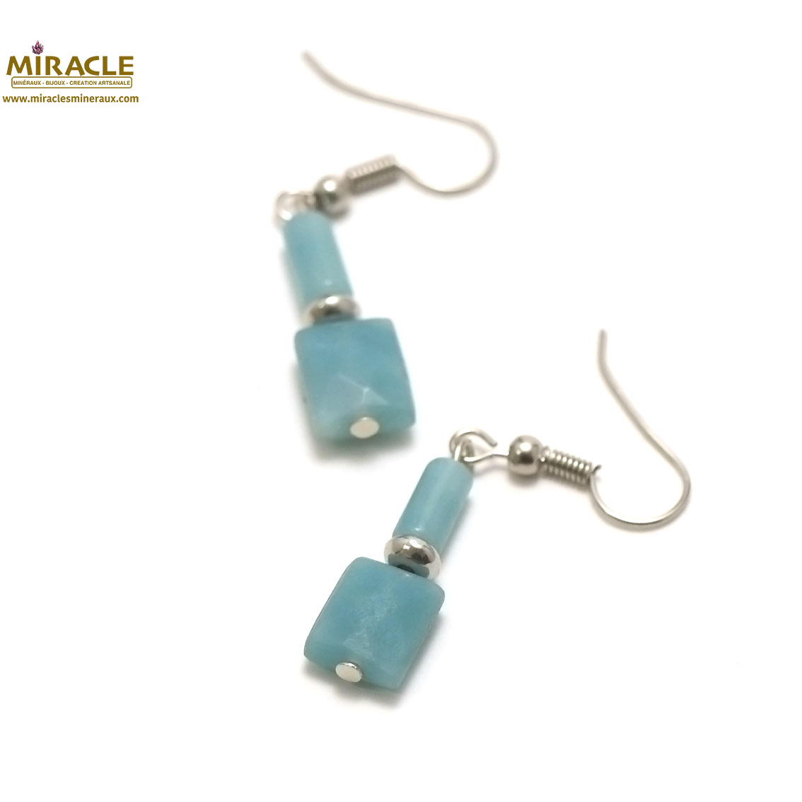 boucle d\'oreille amazonite, perle palet rectangle-tube
