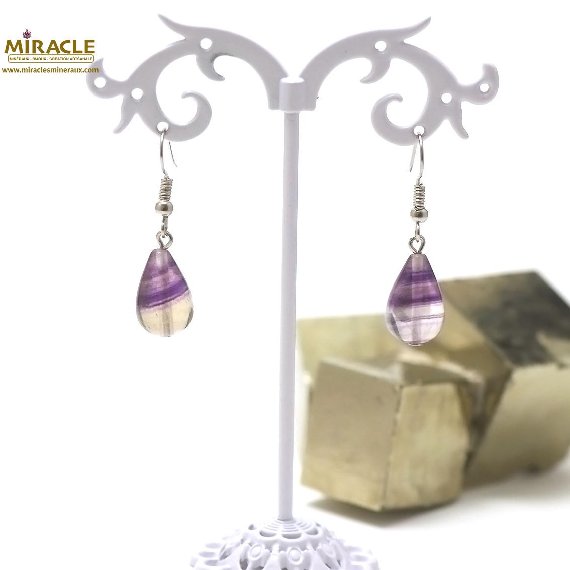 boucle d\'oreille fluorite violet, goutte d\'eau