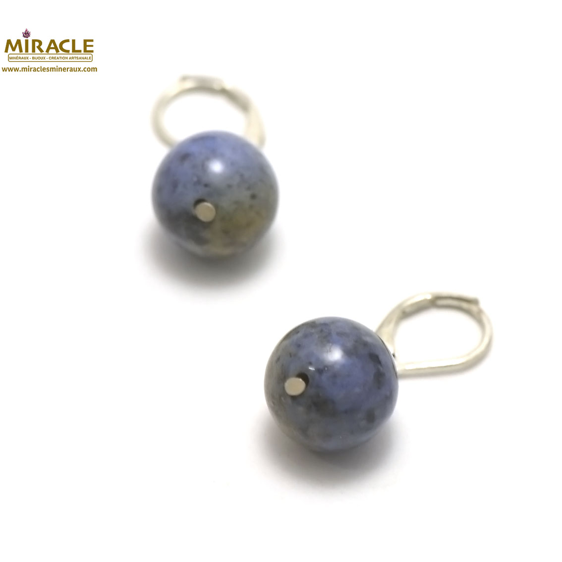 boucle d\'oreille sodalite, perle ronde 14 mm