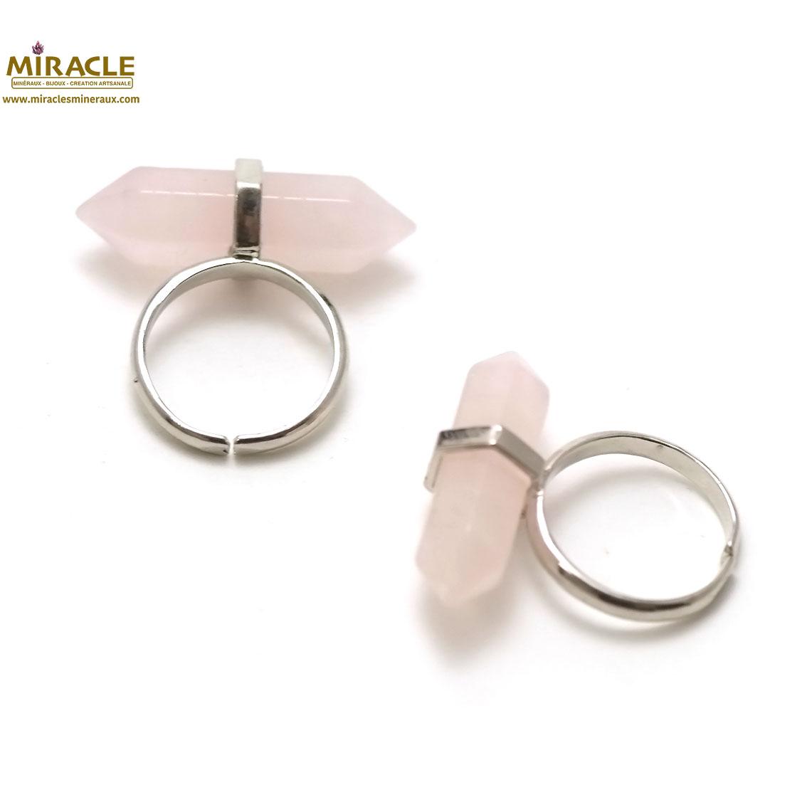 Bague en pierre naturelle de quartz rose double pointe