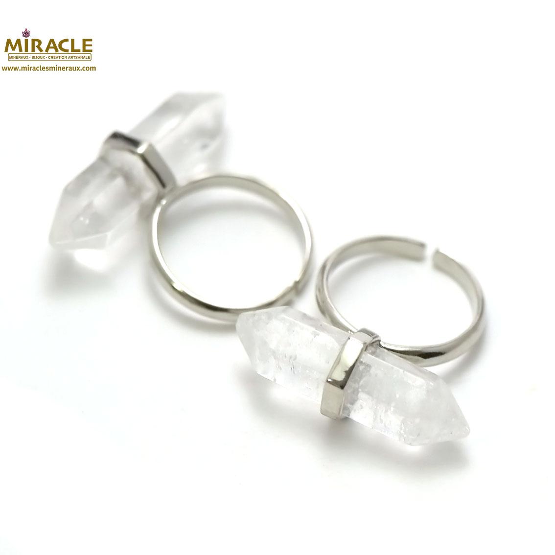Bague en pierre naturelle de cristal de roche double pointe