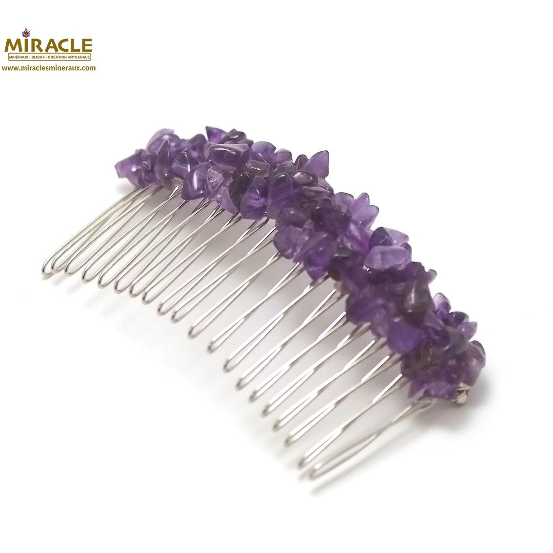 peigne pour cheveux création artisanale, améthyste