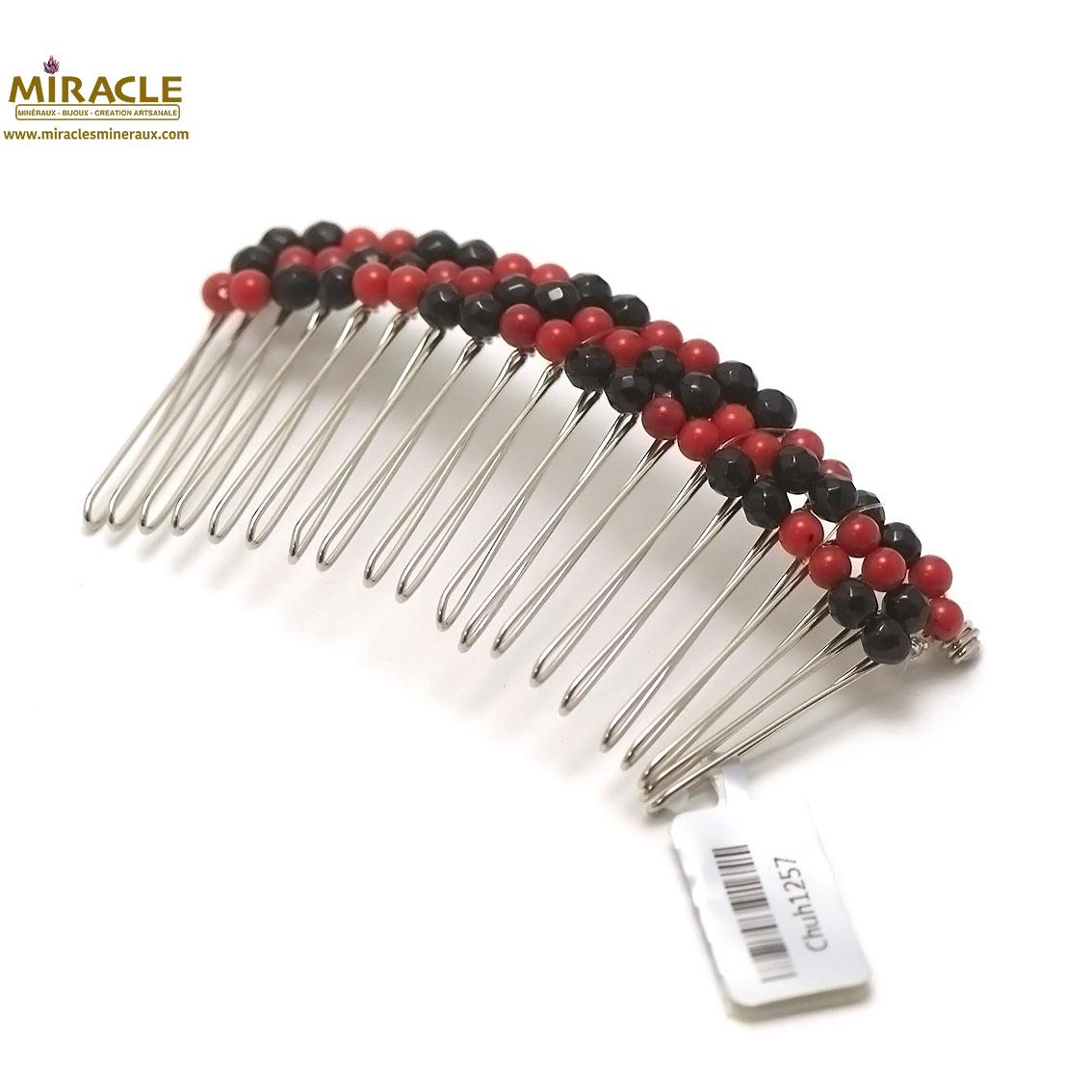 peigne pour cheveux création artisanale, corail/onyx