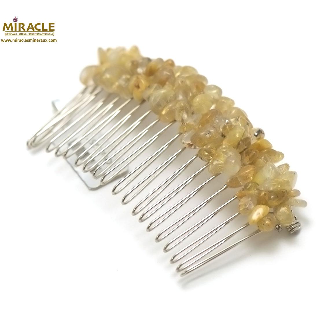 peigne pour cheveux création artisanale, quartz rutil