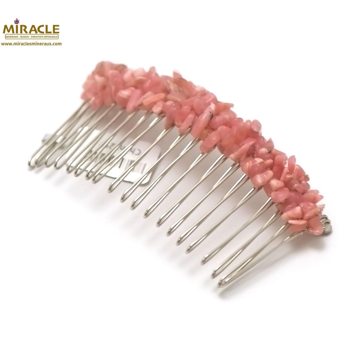 peigne pour cheveux création artisanale,rhodochrosite