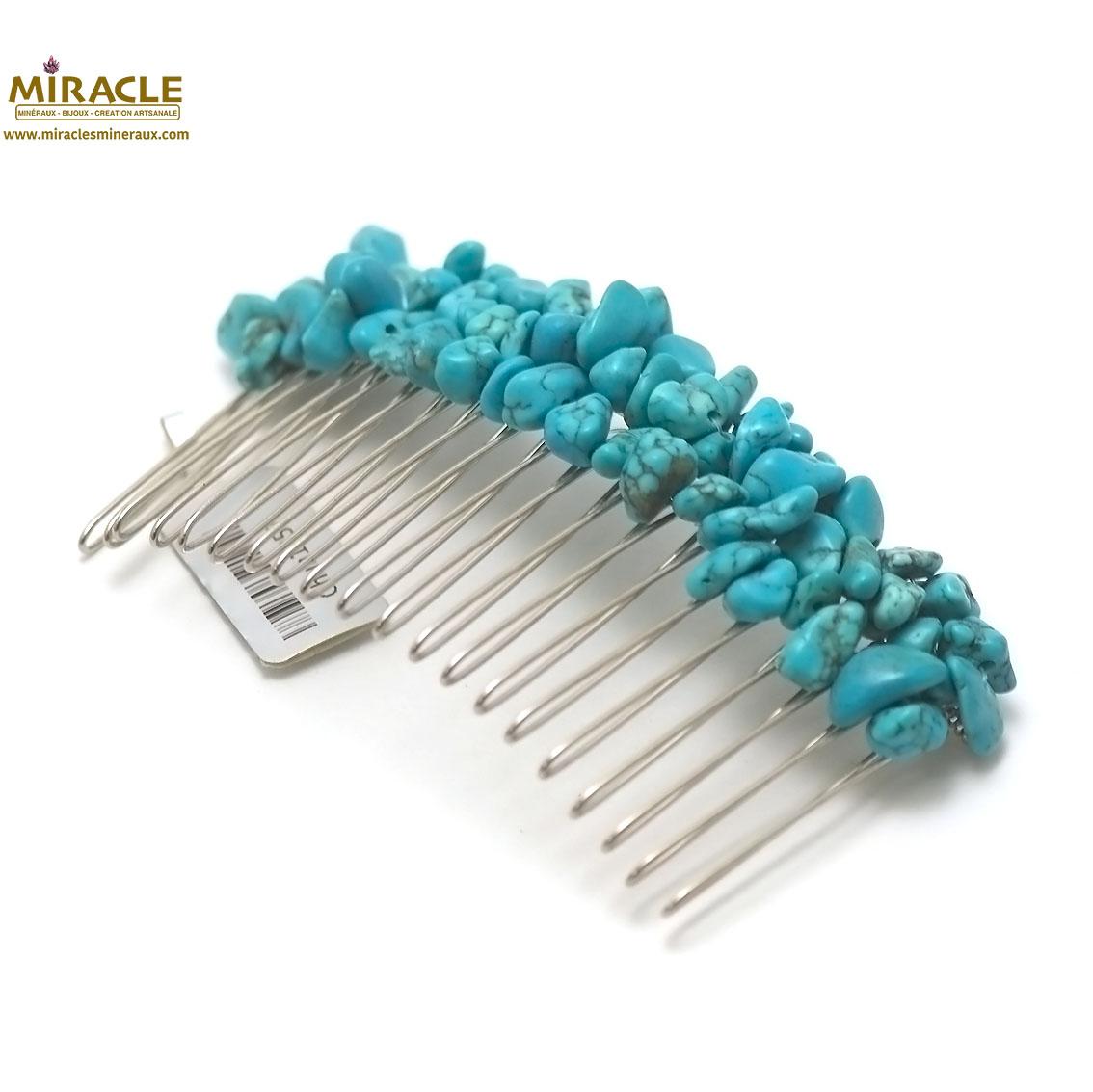 peigne pour cheveux création artisanale, turquoise