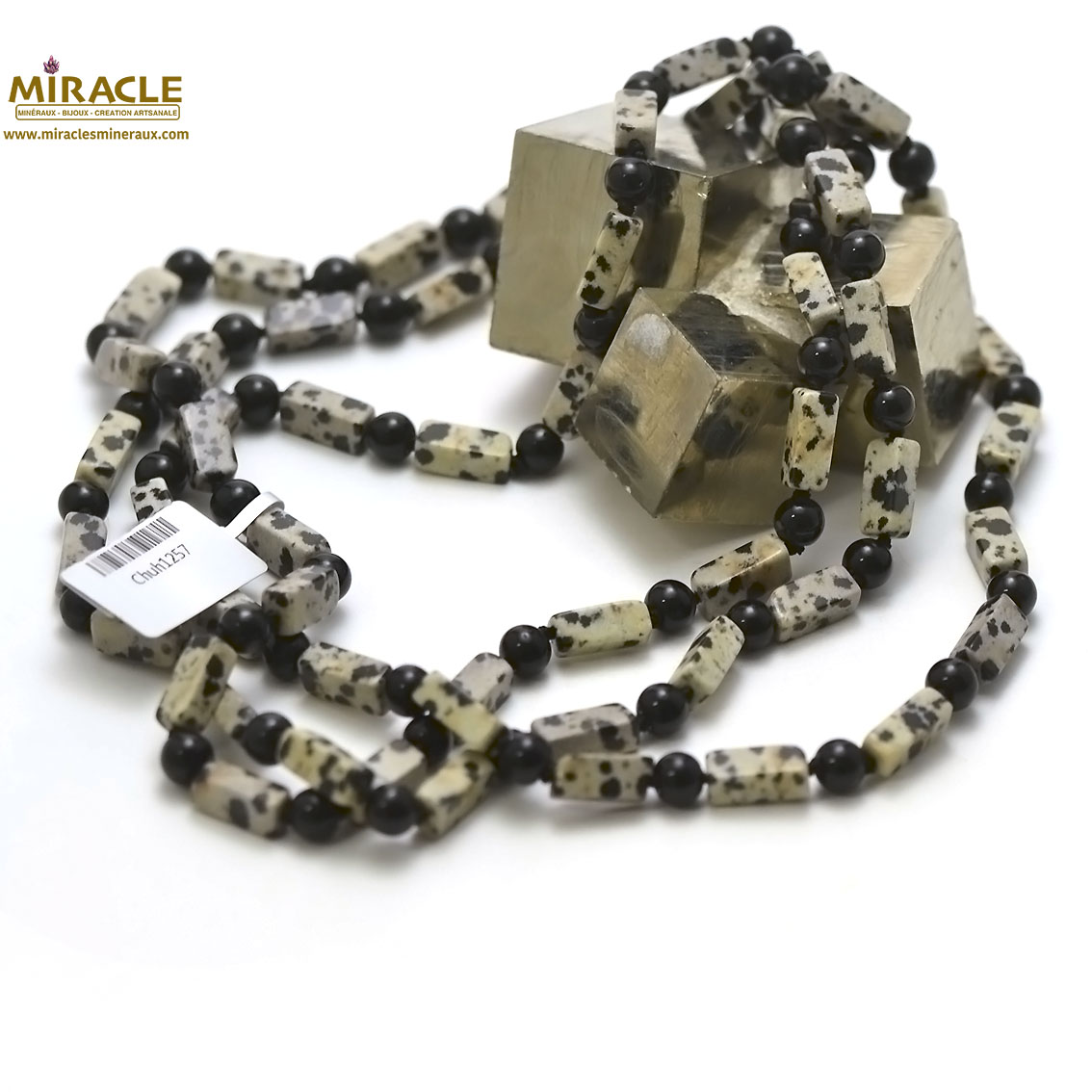 Collier long/sautoir en pierre naturelle obsidienne neige/onyx rectangle 12x5x5 mm, 120cm