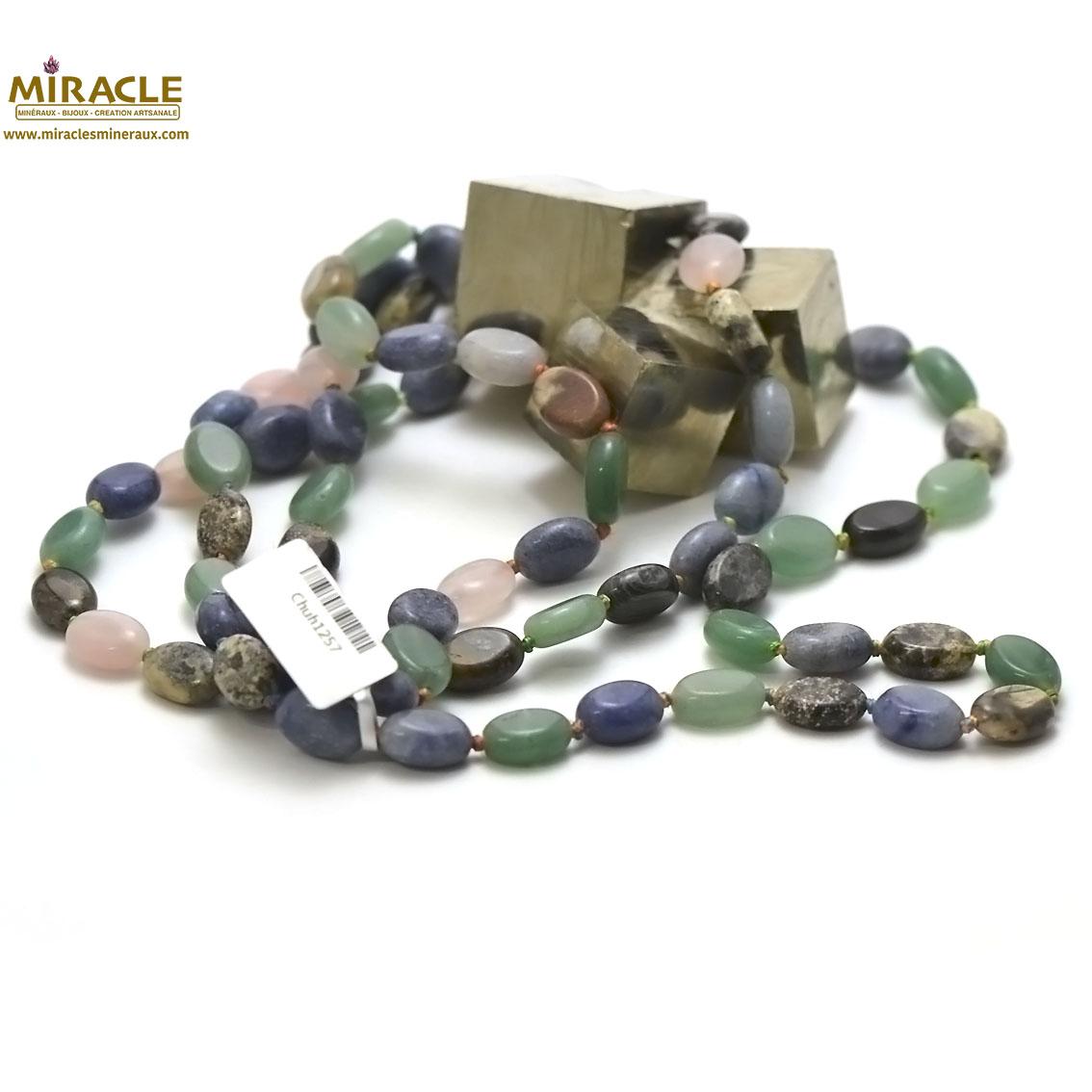 Collier long/sautoir en pierre naturelle palet oval 13x10x5 mm,multipierre 120cm