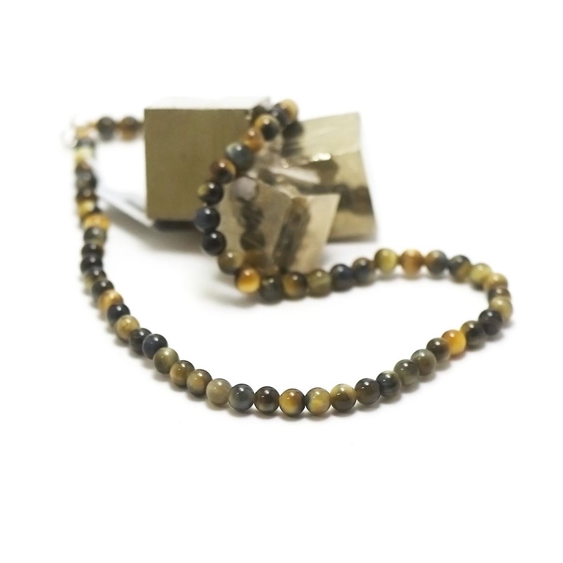 collier oeil de tigre doré, perle ronde 6 mm