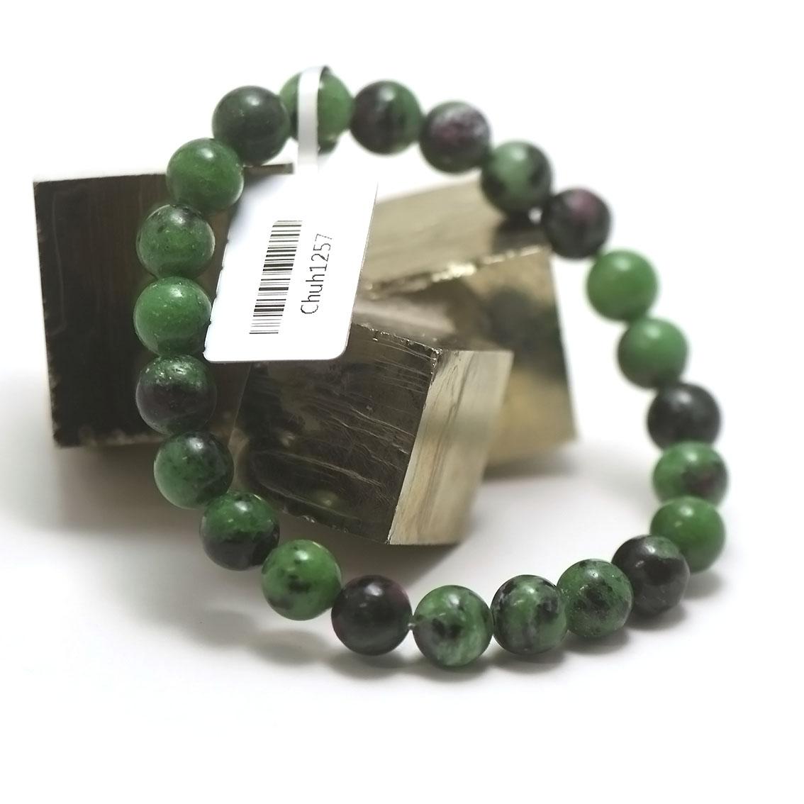 bracelet zoïsite, perle ronde 8 mm
