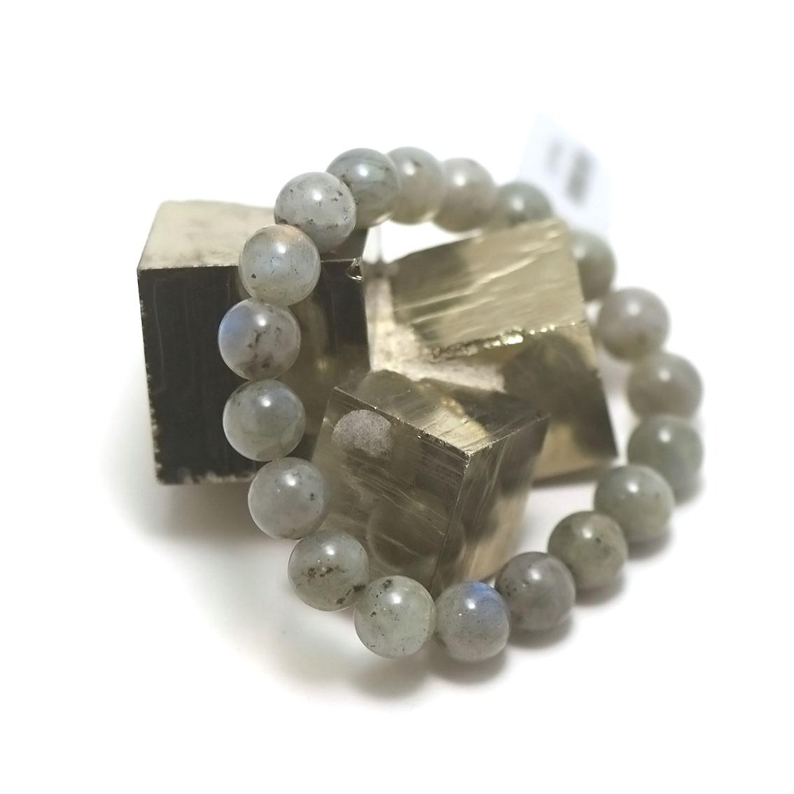 bracelet labradorite ,  perle ronde 10 mm AA