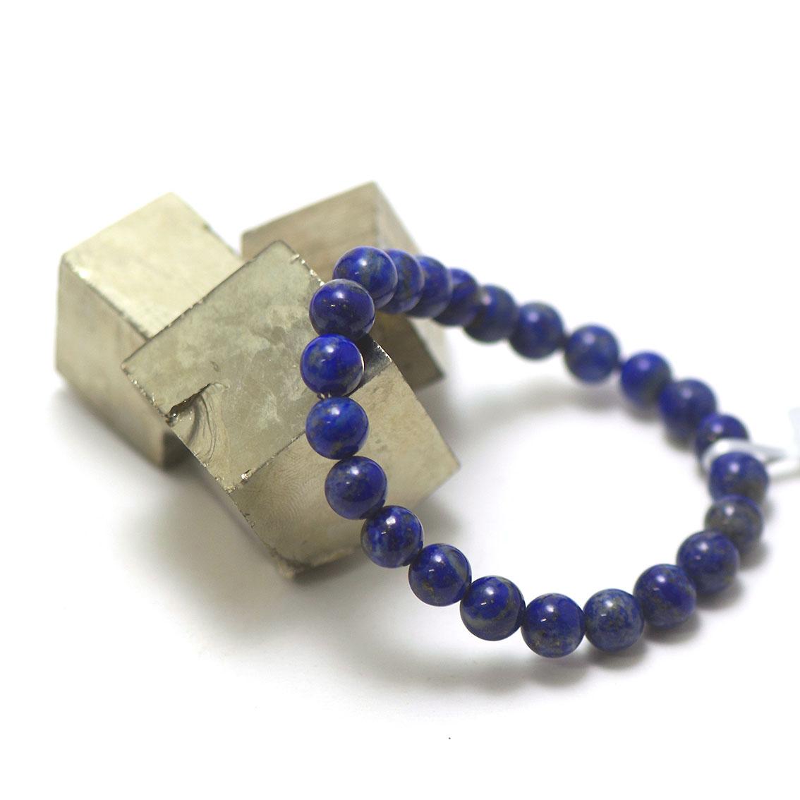 bracelet lapis lazuli , perle ronde 8 mm