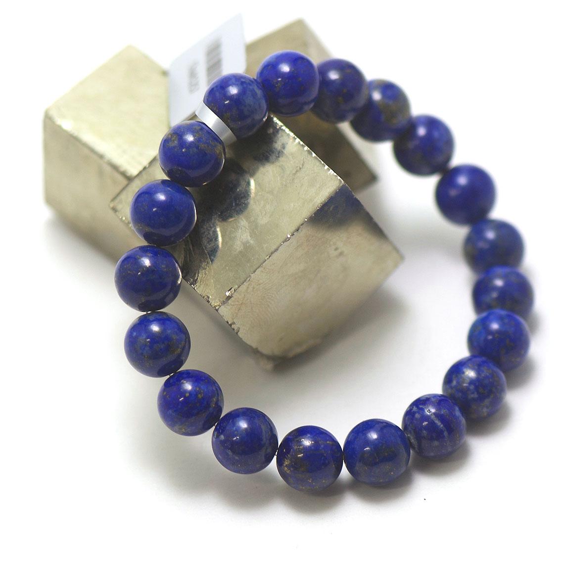 bracelet lapis lazuli ,  perle ronde 10 mm