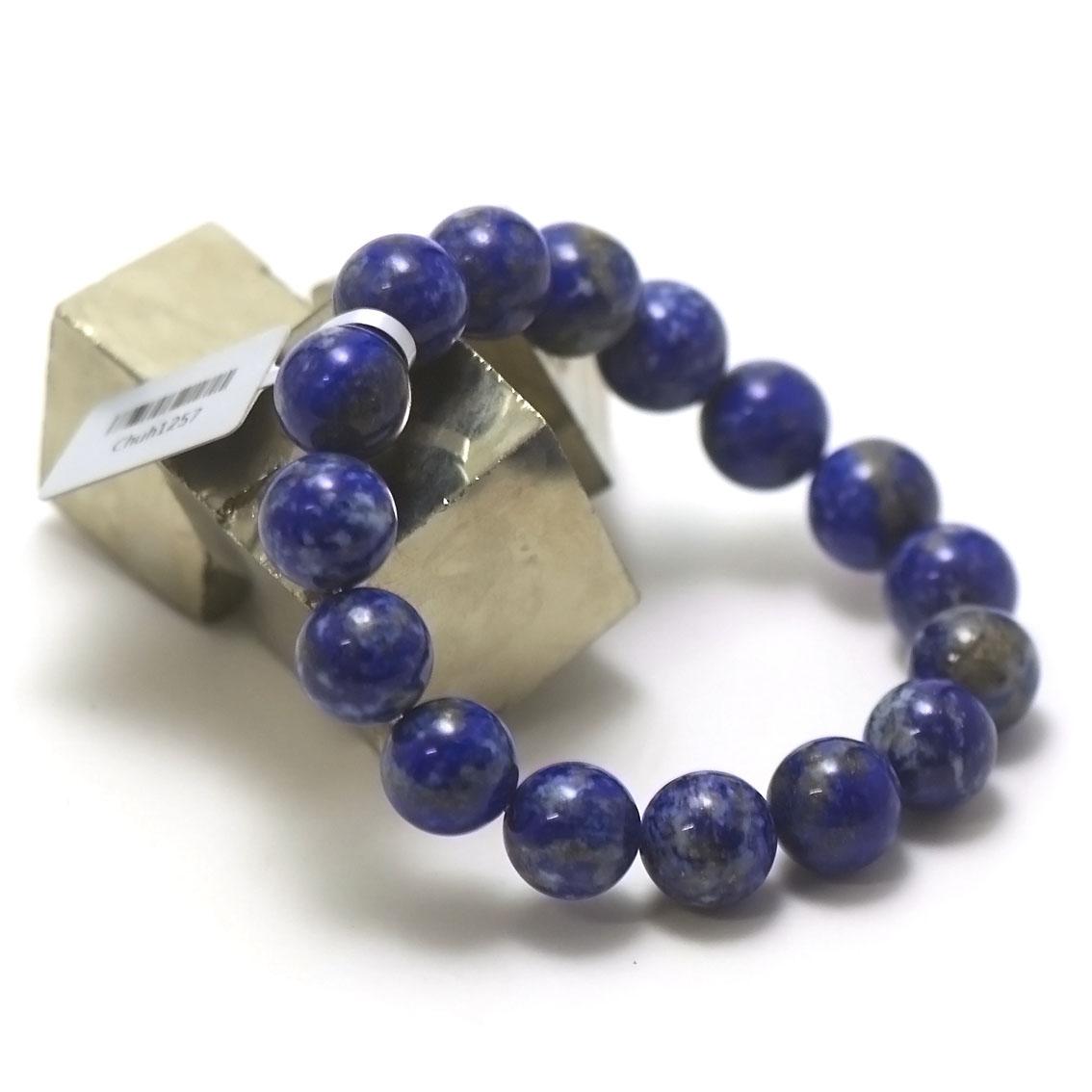 bracelet lapis lazuli ,  perle ronde 12 mm