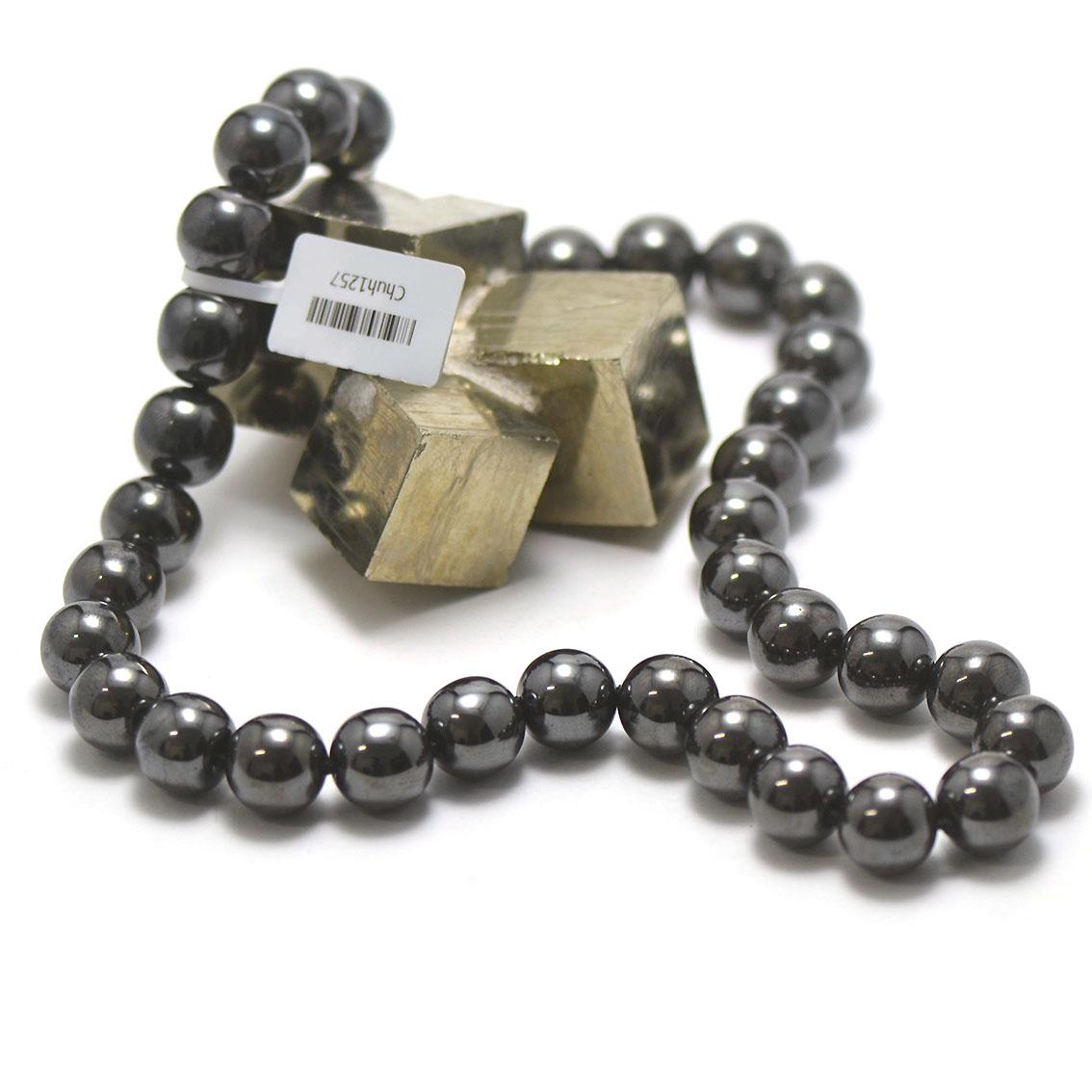 collier hématite ,  perle ronde 12 mm