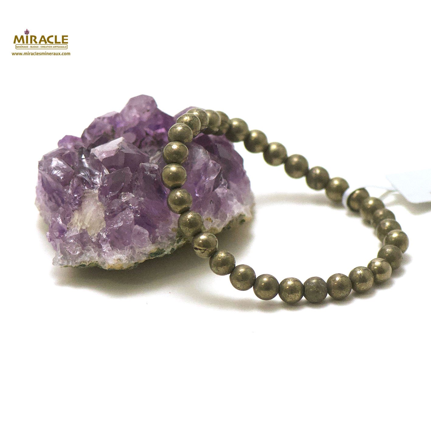 Bracelet pyrite perle ronde 6 mm
