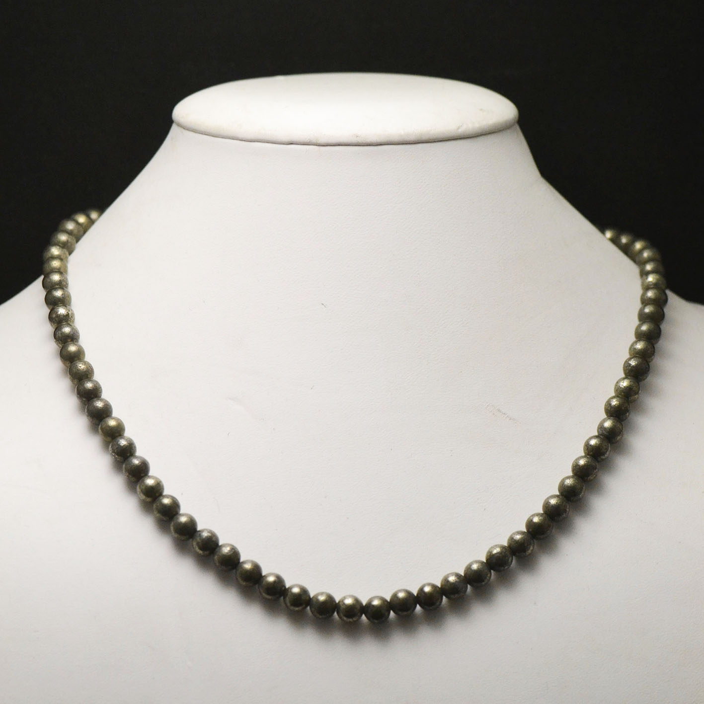 Collier pyrite, perle ronde 6 mm