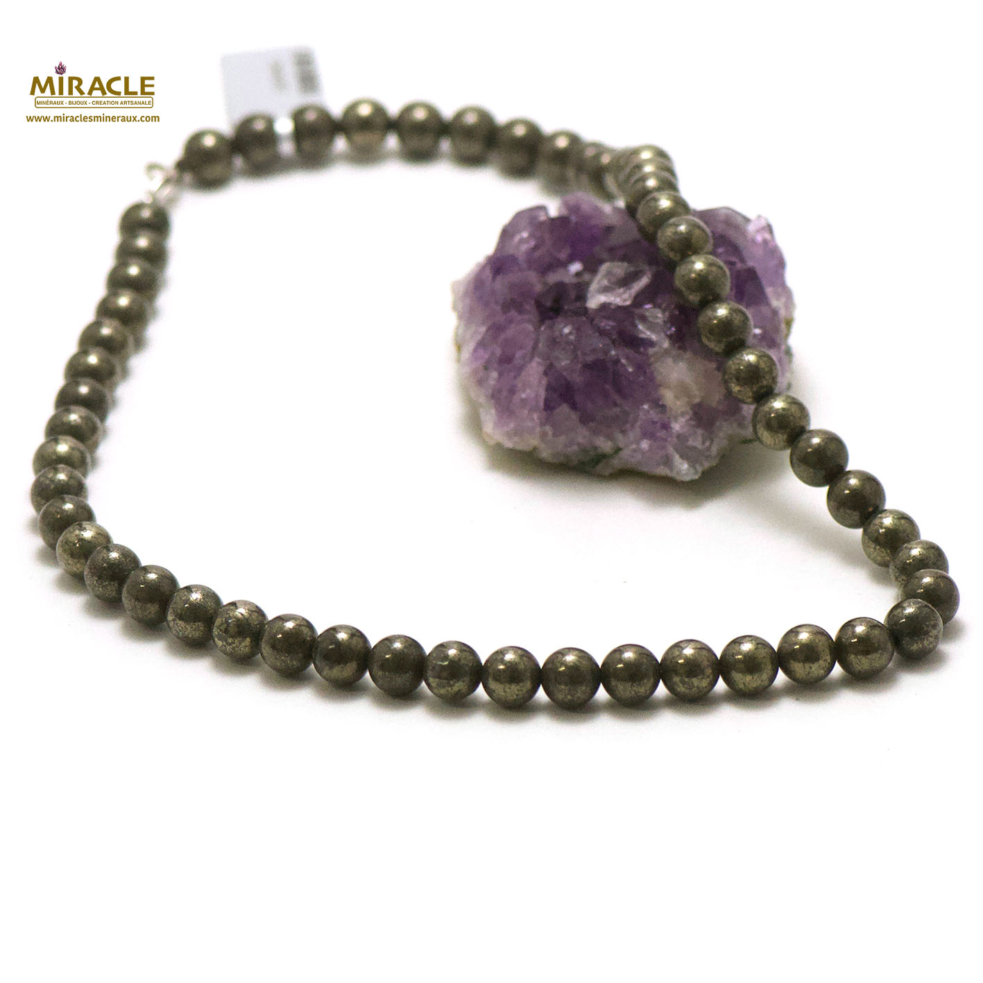 Collier pyrite, perle ronde 8 mm