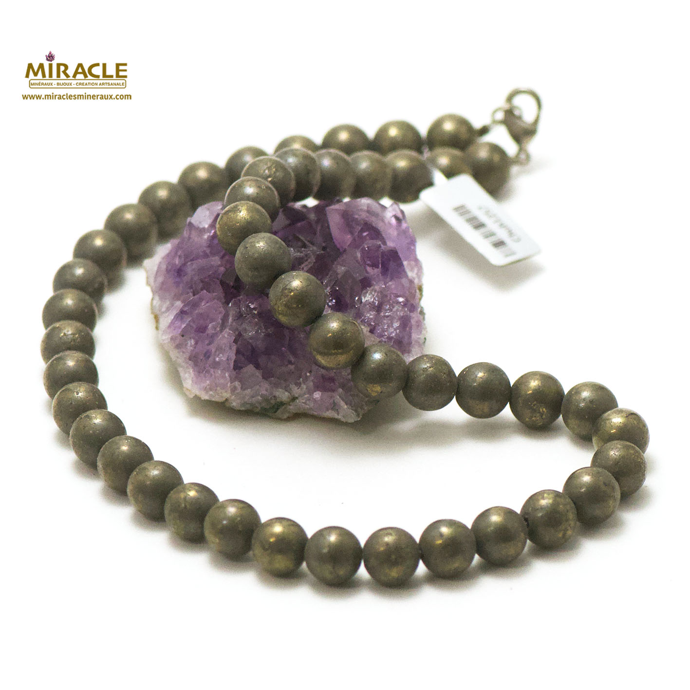 Collier pyrite, perle ronde 10 mm