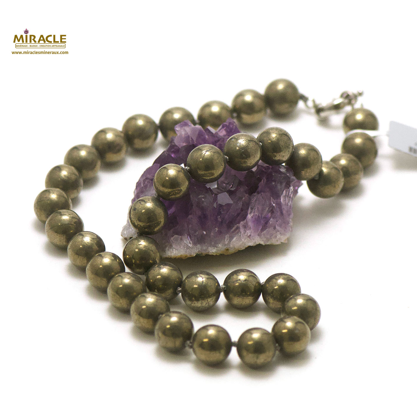Collier pyrite, perle ronde 12 mm