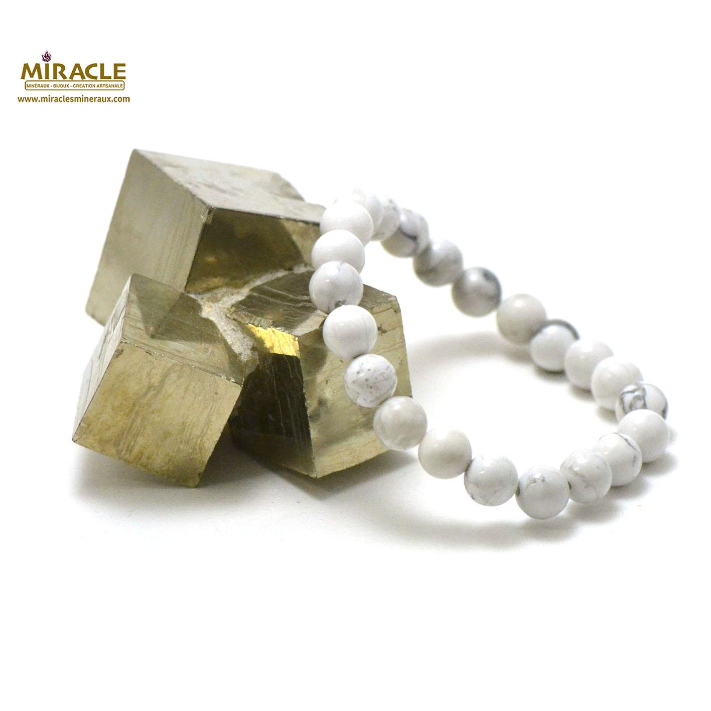bracelet howlite, perle ronde 8 mm
