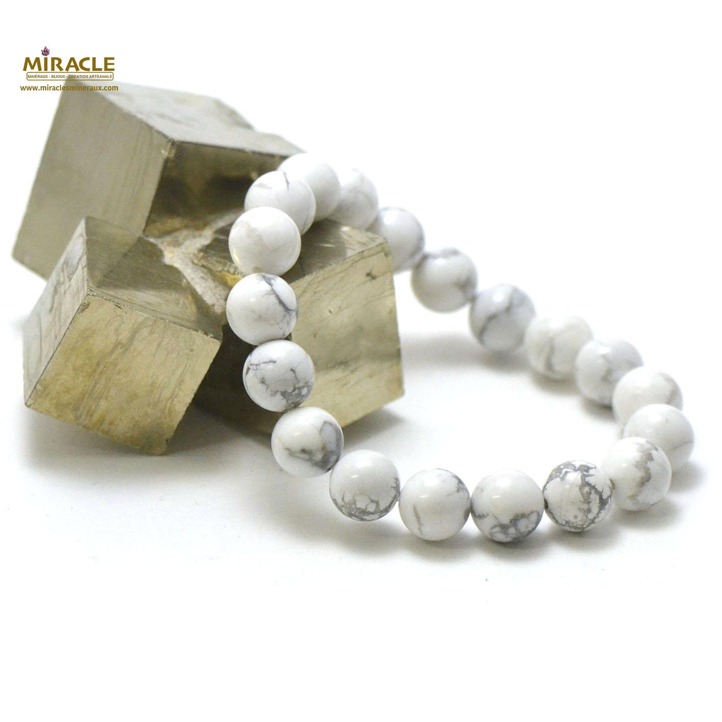 bracelet howlite, perle ronde 10 mm