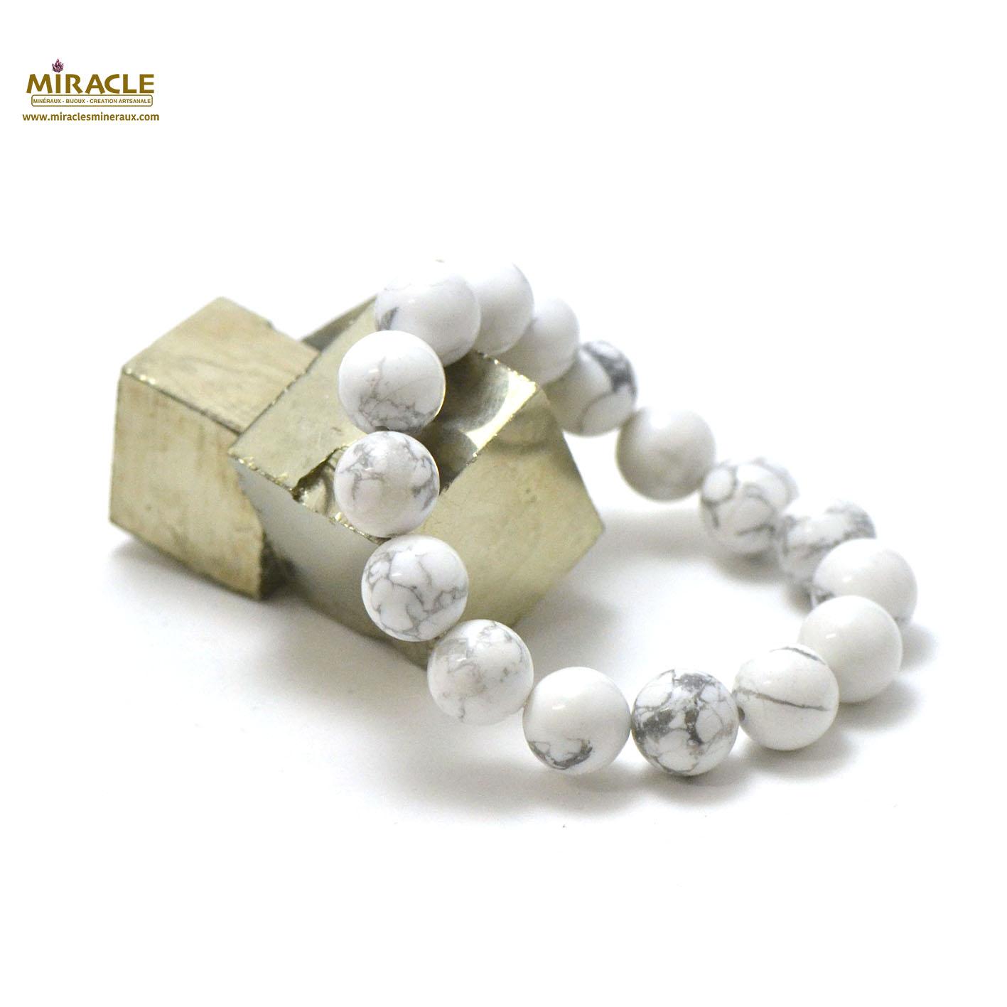 bracelet howlite, perle ronde 12 mm