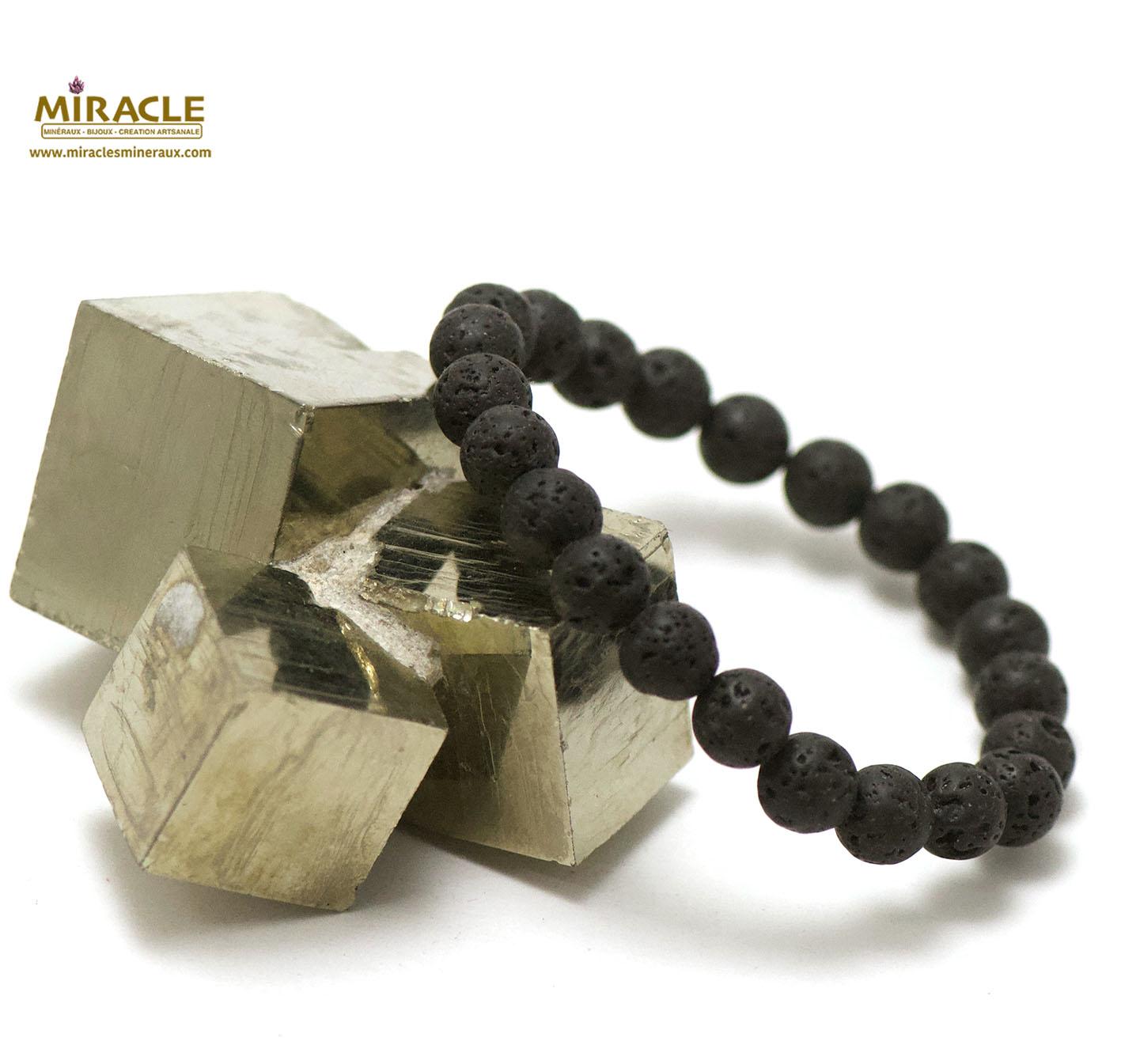 bracelet pierre de lave (roche volcanique), perle ronde 8 mm