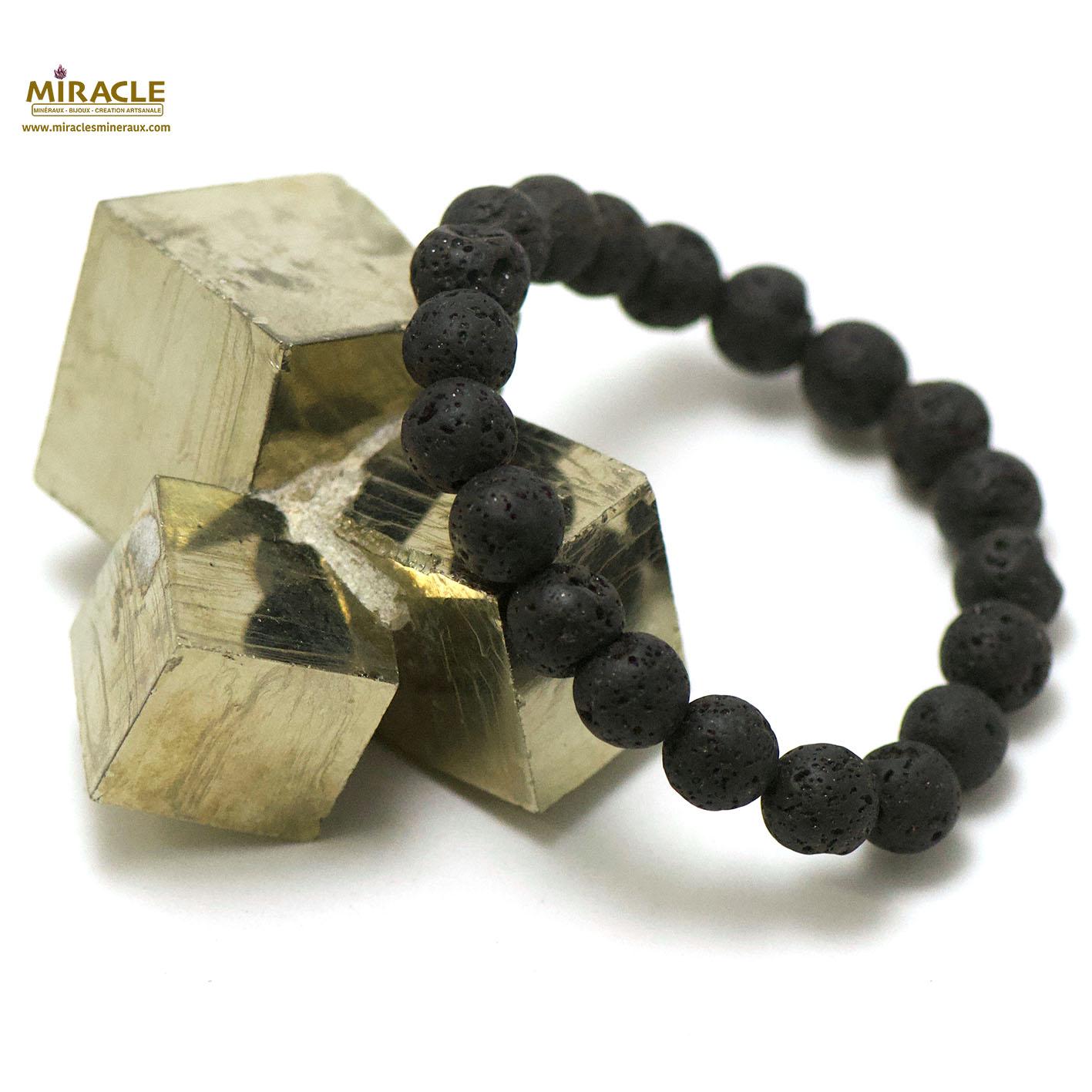 bracelet pierre de lave (roche volcanique), perle ronde 10 mm