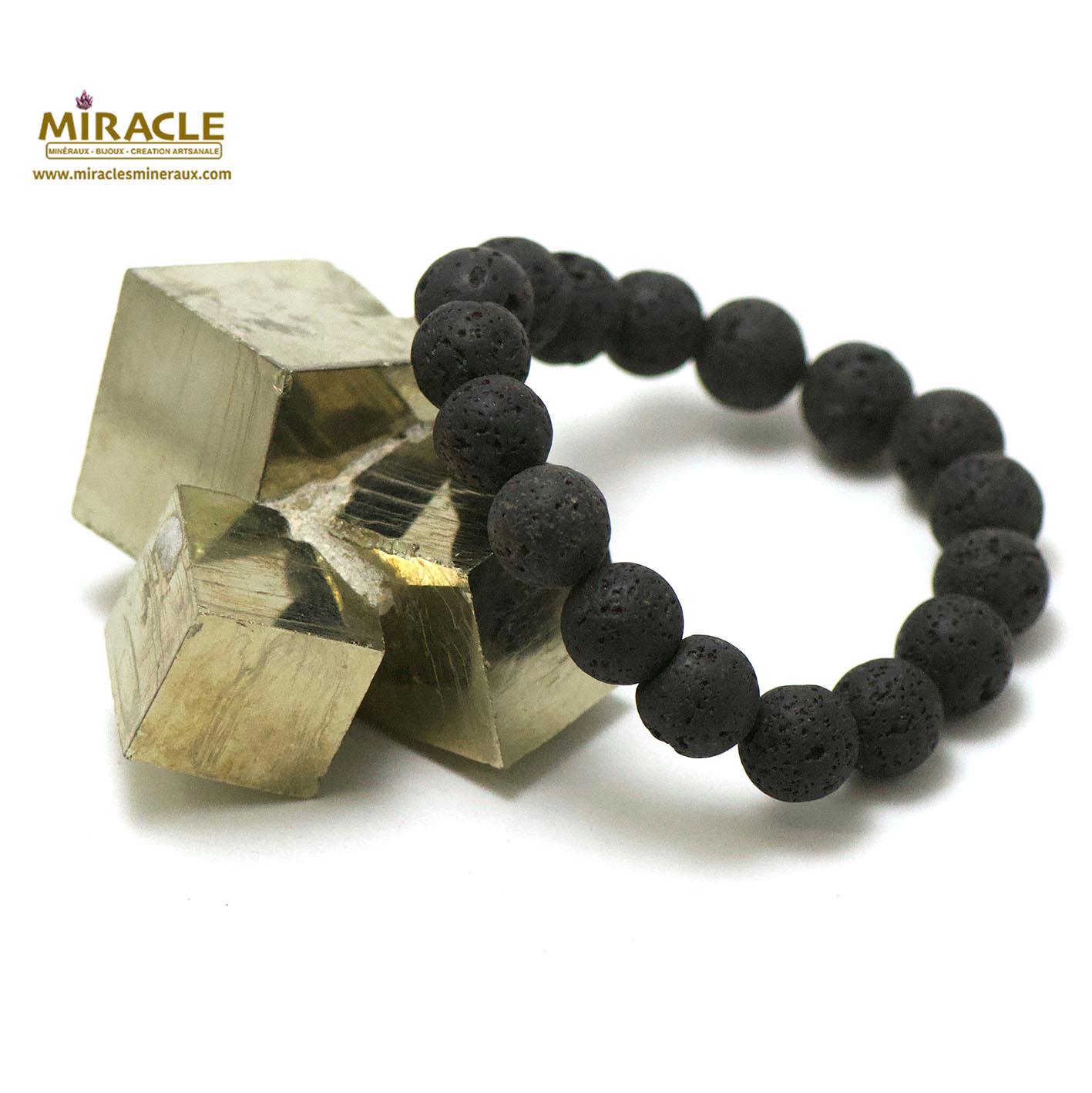 bracelet pierre de lave (roche volcanique), perle ronde 12 mm