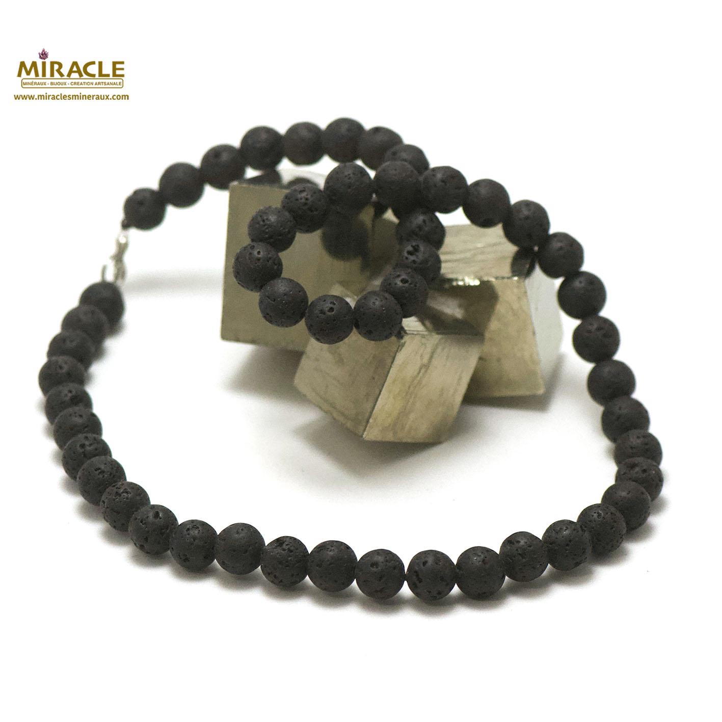 Collier pierre de lave (roche volcanique), perle ronde 8 mm
